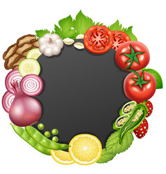 border template with different types of vegetables vector image