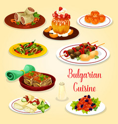 Bulgarian meat dishes and cheese dessert icon vector