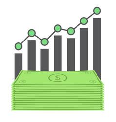 Business dollar graph vector