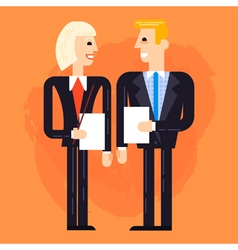 Business man and woman speaking vector