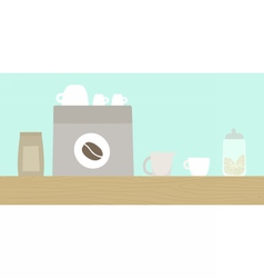 Cafe wooden counter with coffee machine cups vector image
