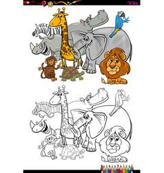 cartoon safari animals coloring book vector image