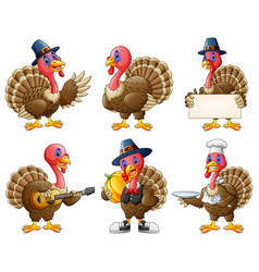 Cartoon turkey mascot set vector