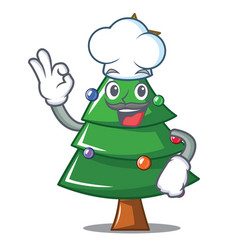 Chef christmas tree character cartoon vector