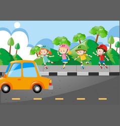 Children rollerskate on the pavement vector