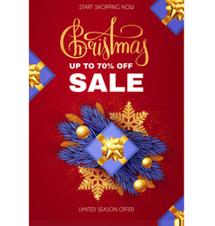 christmas sale design template with gifts fir vector image