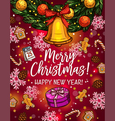 Christmas wreath with bell sketch poster design vector
