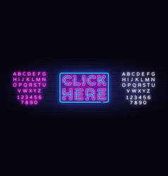Click nere neon text click nere neon sign vector