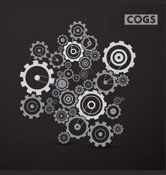 cogs - gears set on dark background cog gear vector image