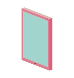 Colorful touch tablet with frame pink vector