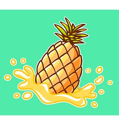 Colorful yellow pineapple with splash on vector