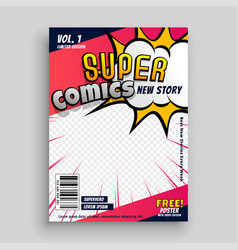 Comic book cover design template vector