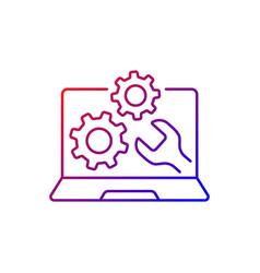 Computer repair service gradient linear icon vector