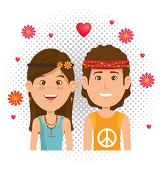 couple hippies lifestyle characters vector image