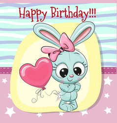 Cute cartoon rabbit girl with balloon vector