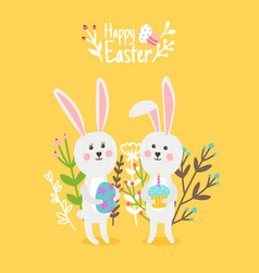 cute happy rabbits easter card vector image