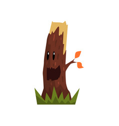 cute happy tree stump character with funny face vector image