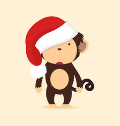 cute monkey with hat christmas vector image