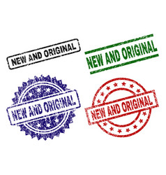 damaged textured new and original stamp seals vector image
