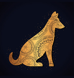 Dog mandala boho style vector