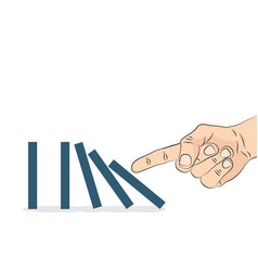 domino effect hand pushing the domino vector image