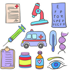 Doodle of medical object collection design vector
