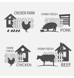 Farm chicken pork and cow vector