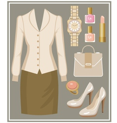 Fashion set with a blouse and a skirt vector image