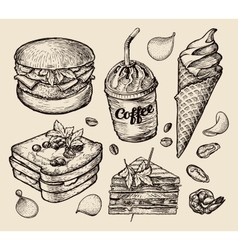 fast food hand drawn hamburger burger coffee vector image