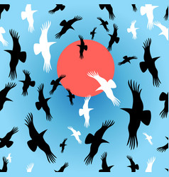flocks crows circling vector image