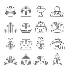fountain types thin line icons set isolated vector image