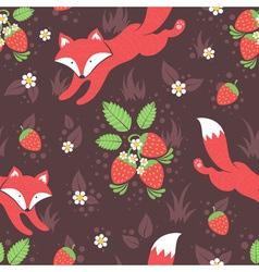 Foxes and wild strawberries seamless pattern vector image