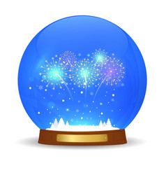 Glass ball with new year fireworks vector