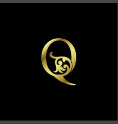Gold luxury letter q ornament logo alphabet vector
