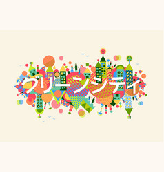 Green city japanese language concept vector