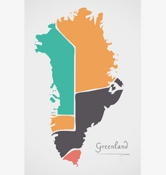 Greenland map with states and modern round shapes vector