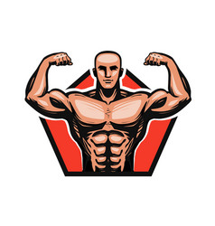 Gym bodybuilding fitness logo or label muscle vector