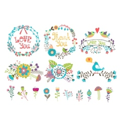 hand drawn wedding graphic flowers and wreaths vector image