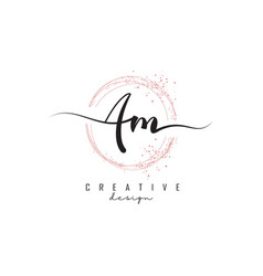 Handwritten am a m letters logo with dust pink vector