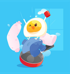 happy fried egg wake up in morning against vector image