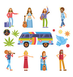 Hippies with musical instruments colorful van and vector