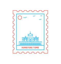 Humayuns tomb postage stamp blue and red line vector