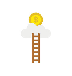 icon concept of ladder reach dollar money coin on vector image