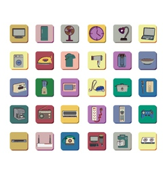 Icon set of electronic appliances vector image