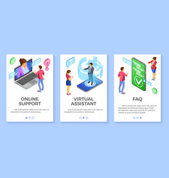 Isometric online customer support templates vector