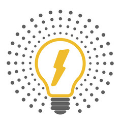 light bulb outline icons with dots around vector image