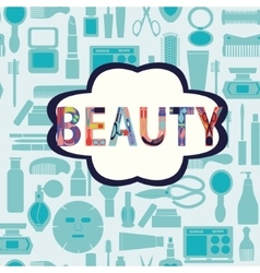 Makeup cosmetic and beauty silhouettes vector