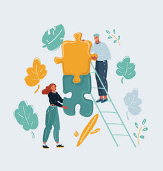 man and woman fit pieces puzzle to each other vector image