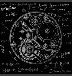 mechanical watches plan with gears drawing of the vector image