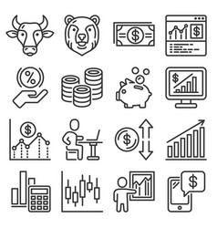 money investment and banking icons set vector image